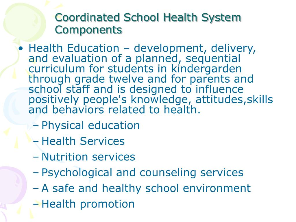 Health Education – development, delivery, and evaluation of a planned, sequential curriculum for students in kindergarden through grade twelve and for parents and school staff and is designed to influence positively people's knowledge, attitudes,skills and behaviors related to health.