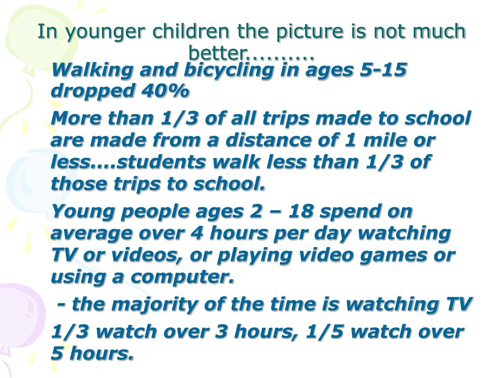 Walking and bicycling in ages 5-15 dropped 40%
