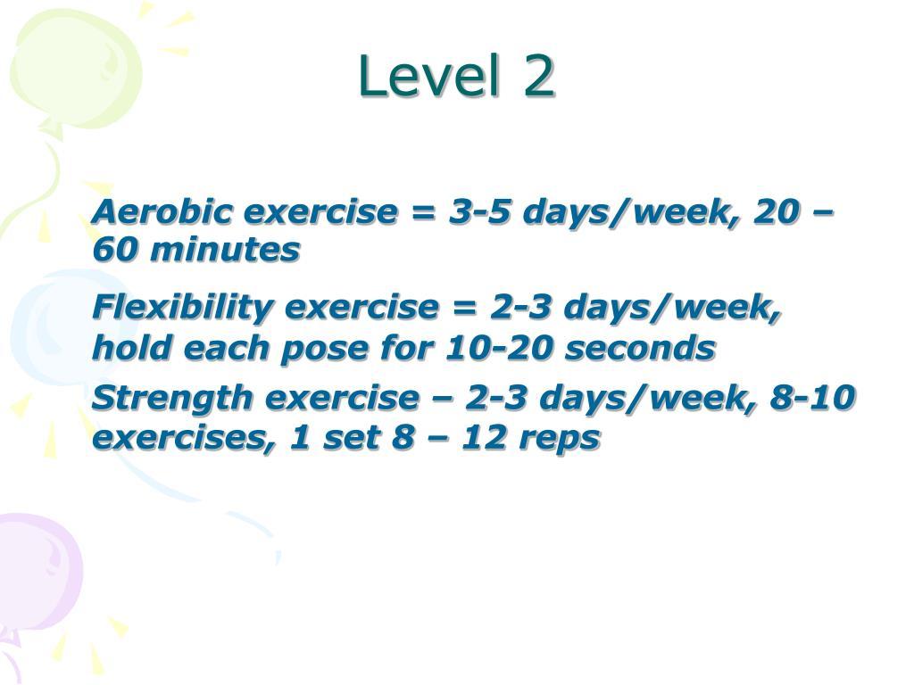 Aerobic exercise = 3-5 days/week, 20 – 60 minutes