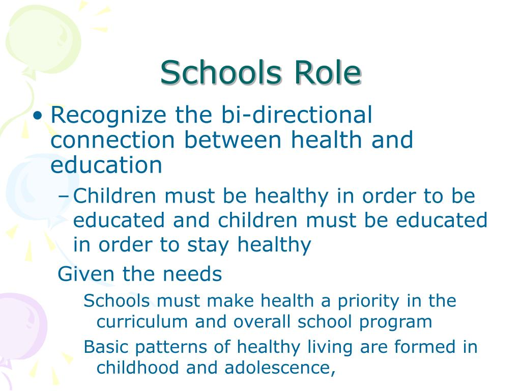 Recognize the bi-directional connection between health and education