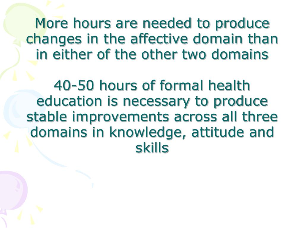 More hours are needed to produce changes in the affective domain than in either of the other two domains