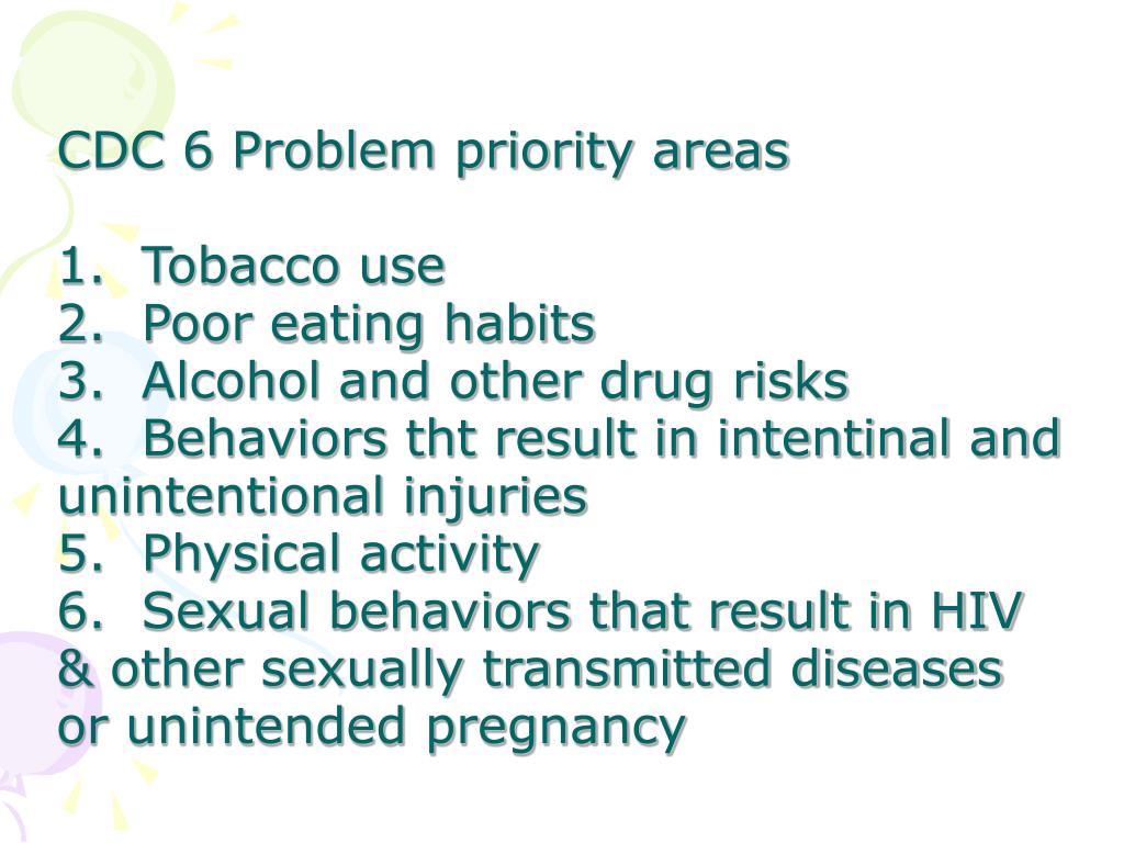 CDC 6 Problem priority areas
