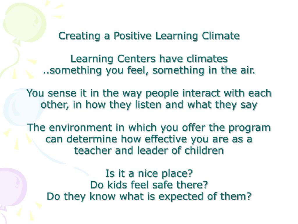 Creating a Positive Learning Climate