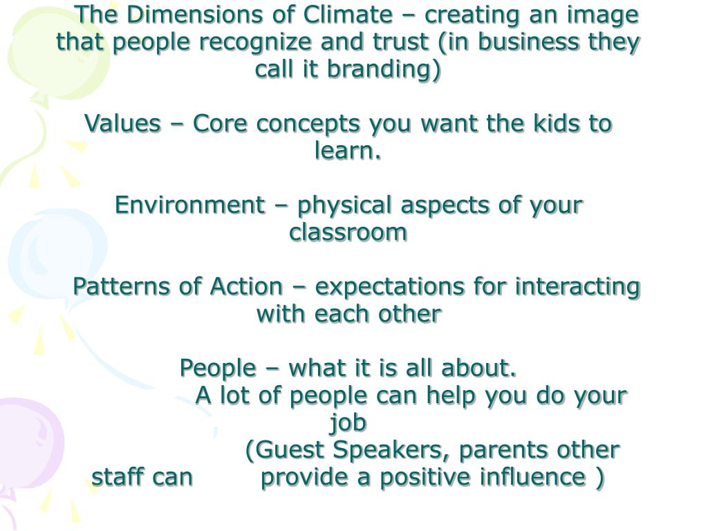 The Dimensions of Climate – creating an image that people recognize and trust (in business they call it branding)