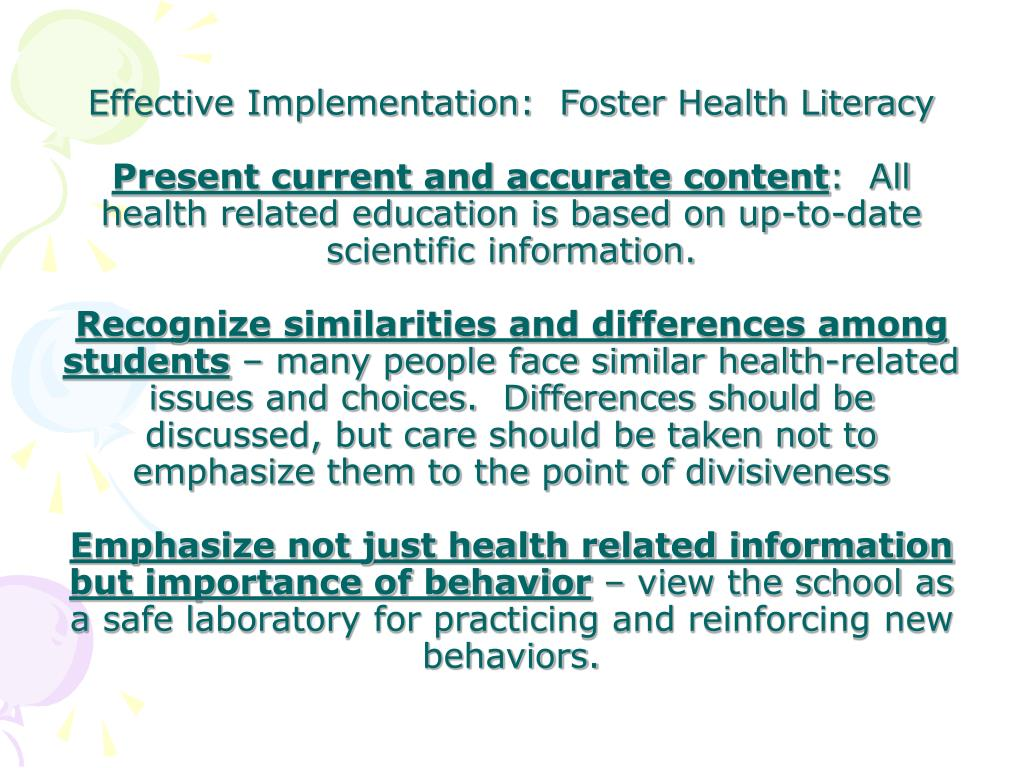 Effective Implementation:  Foster Health Literacy
