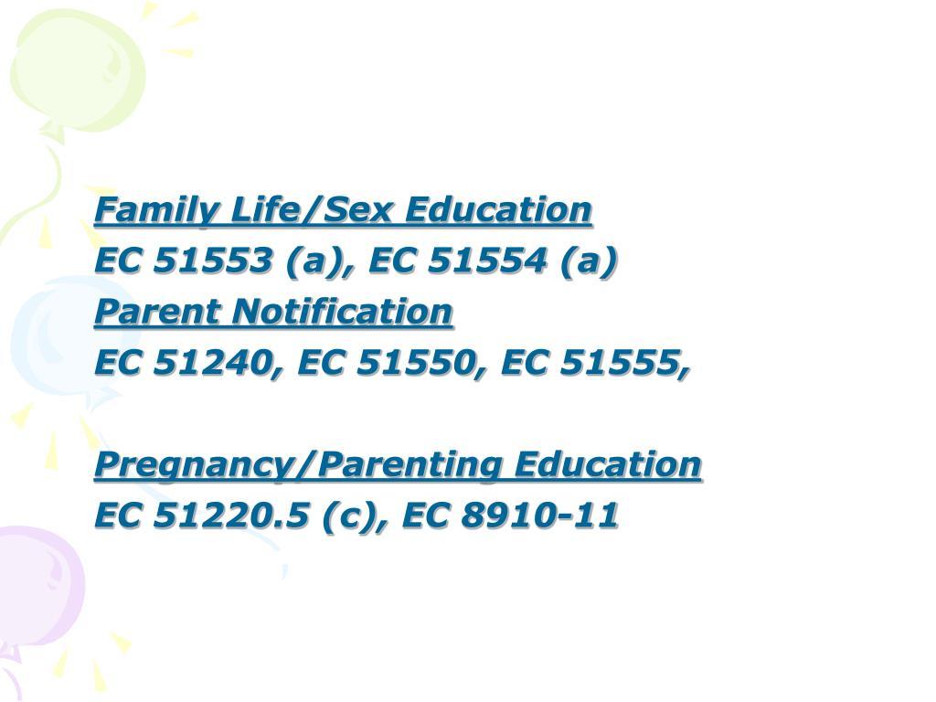 Family Life/Sex Education