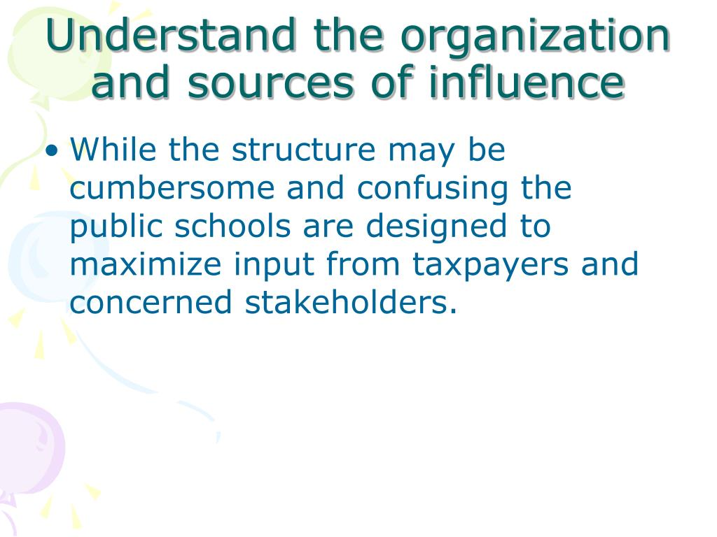 Understand the organization and sources of influence
