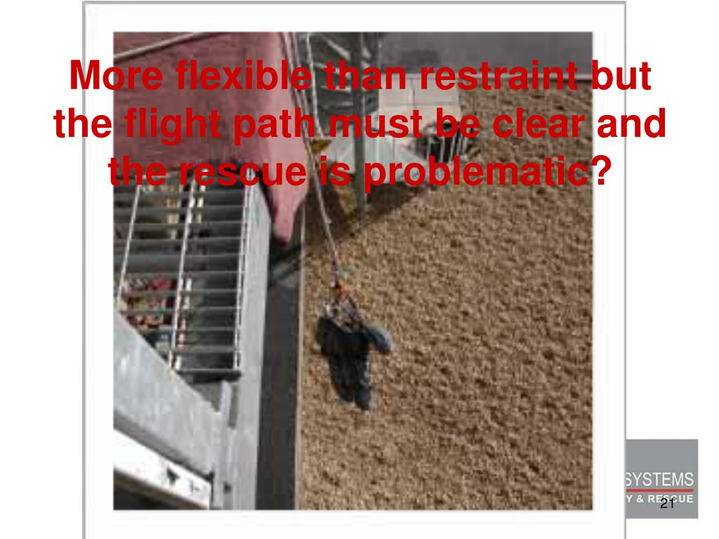 More flexible than restraint but the flight path must be clear and the rescue is problematic?