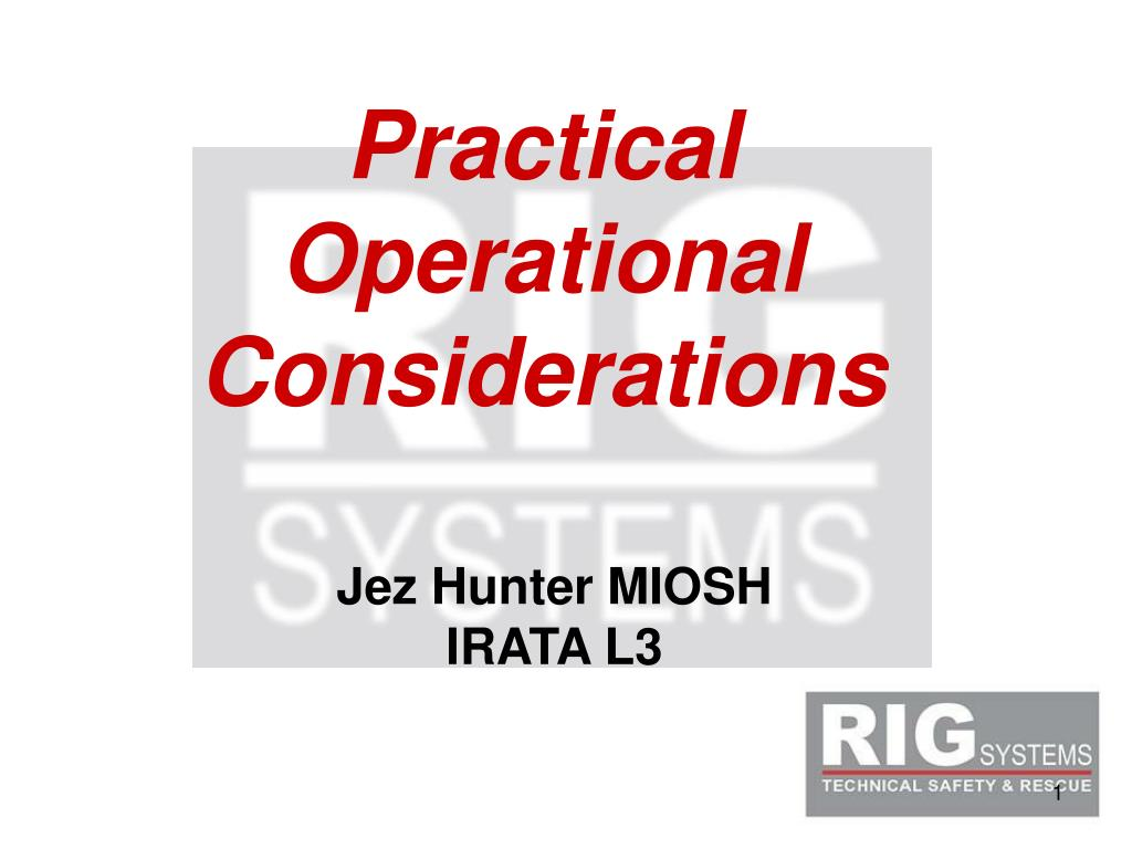 Practical Operational Considerations