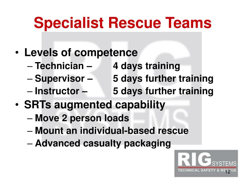 Specialist Rescue Teams