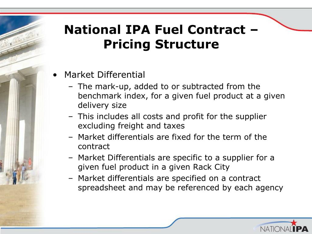 National IPA Fuel Contract – Pricing Structure