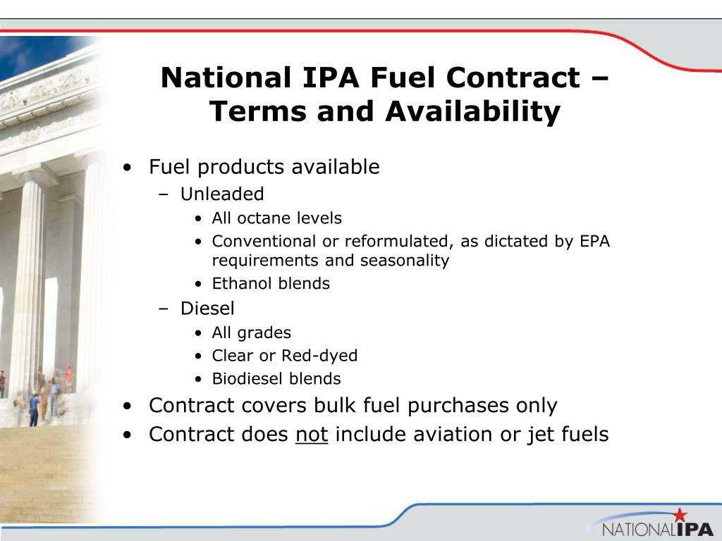 National IPA Fuel Contract – Terms and Availability