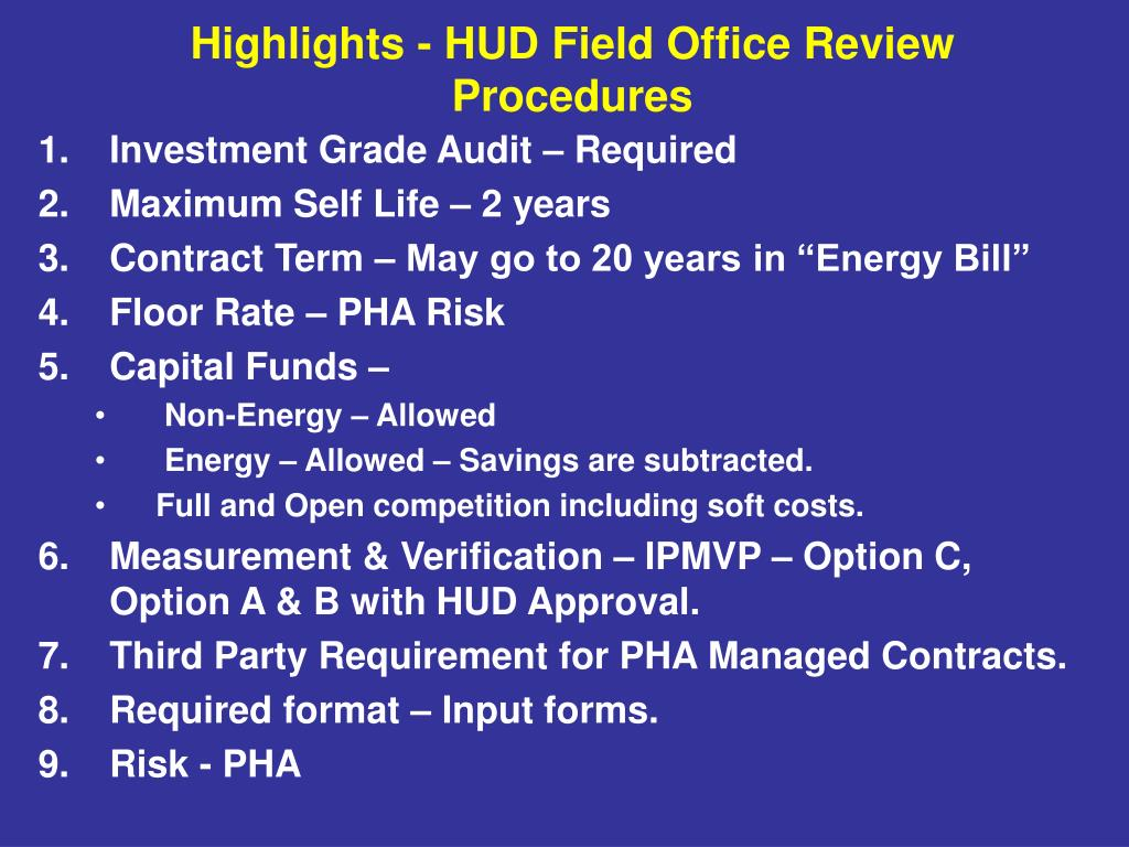 Investment Grade Audit – Required