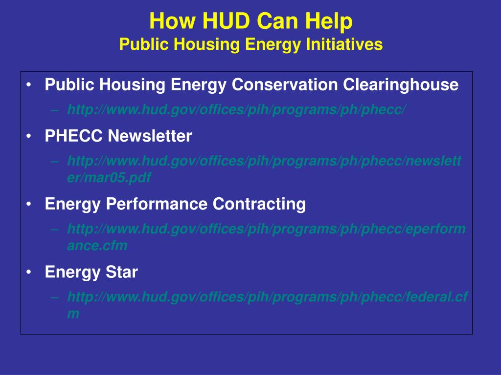 Public Housing Energy Conservation Clearinghouse