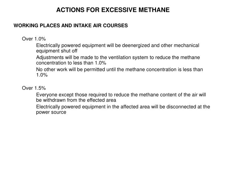 ACTIONS FOR EXCESSIVE METHANE