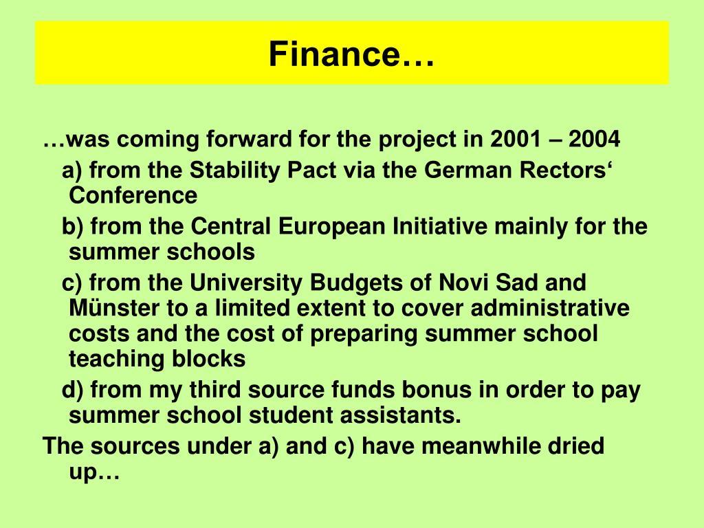 Finance…