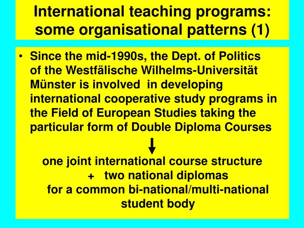International teaching programs: some organisational patterns (1)