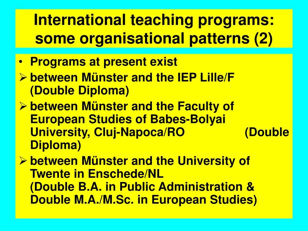International teaching programs: some organisational patterns (2)