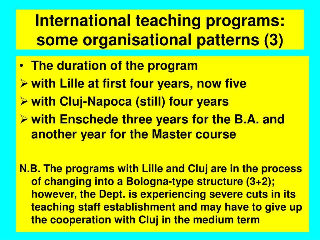 International teaching programs: some organisational patterns (3)