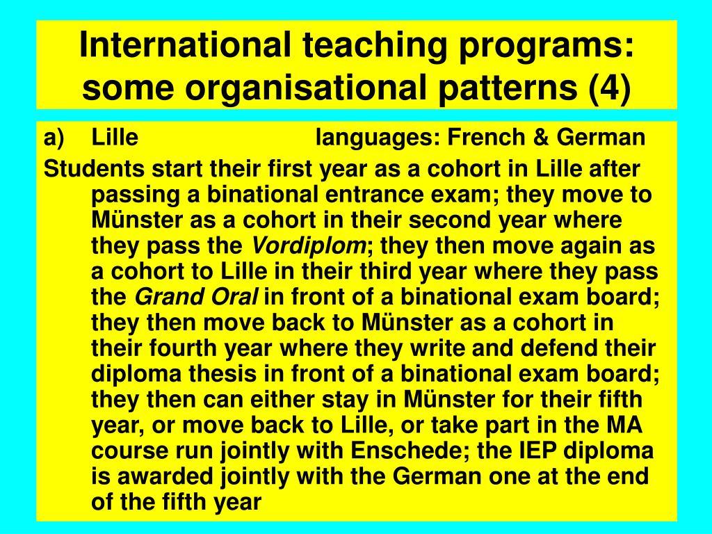 International teaching programs: some organisational patterns (4)
