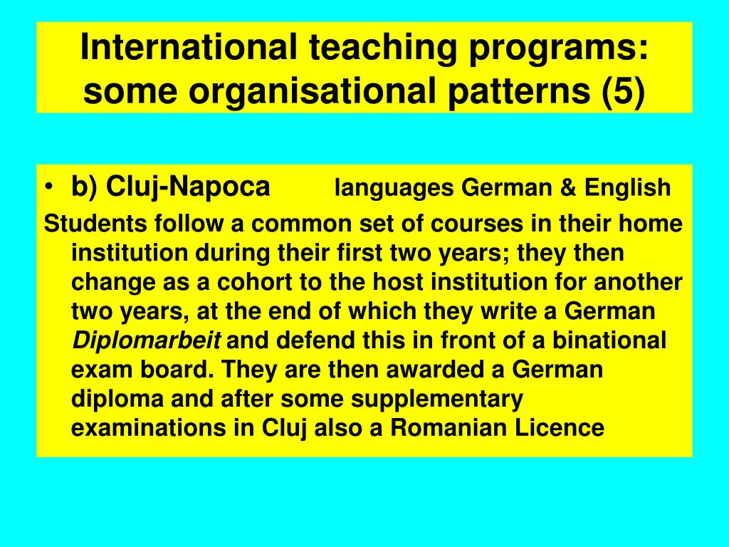 International teaching programs: some organisational patterns (5)