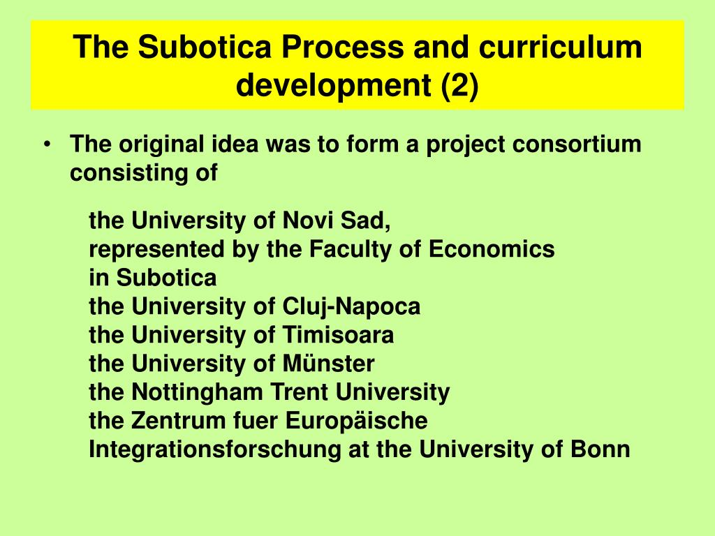 The Subotica Process and curriculum development (2)