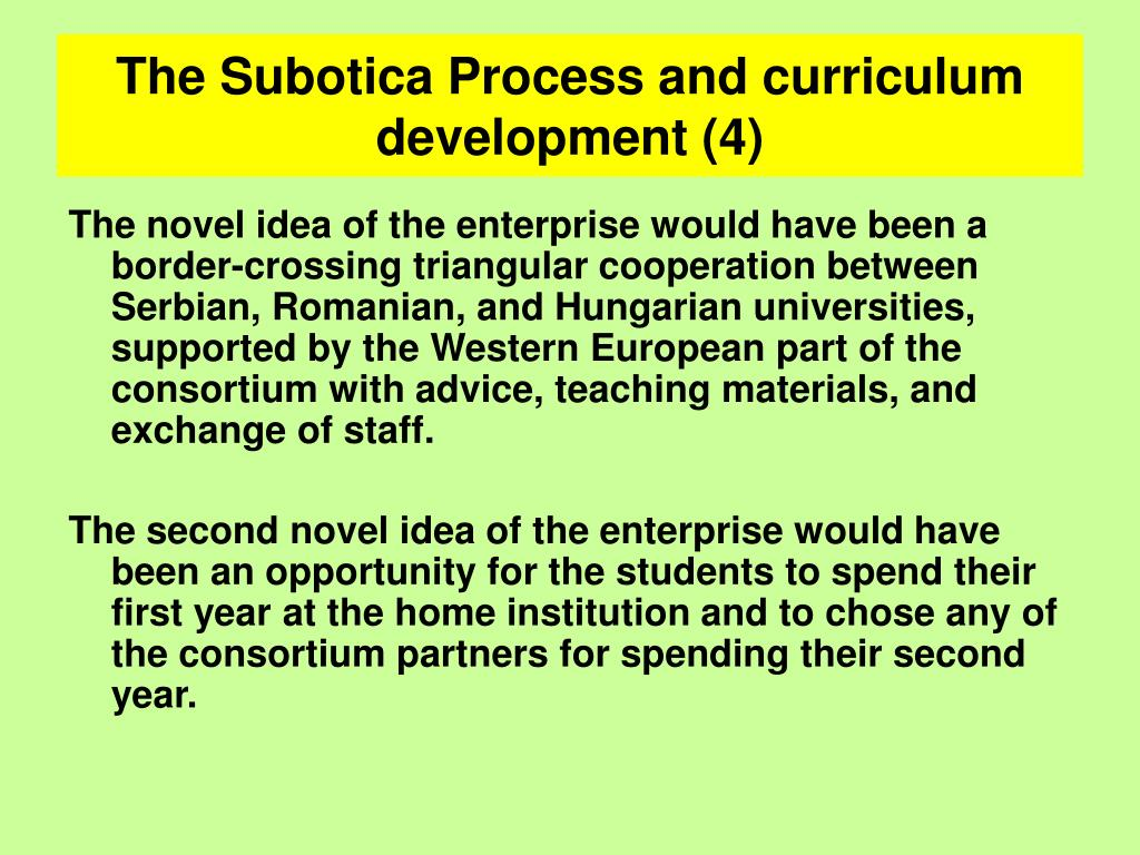 The Subotica Process and curriculum development (4)
