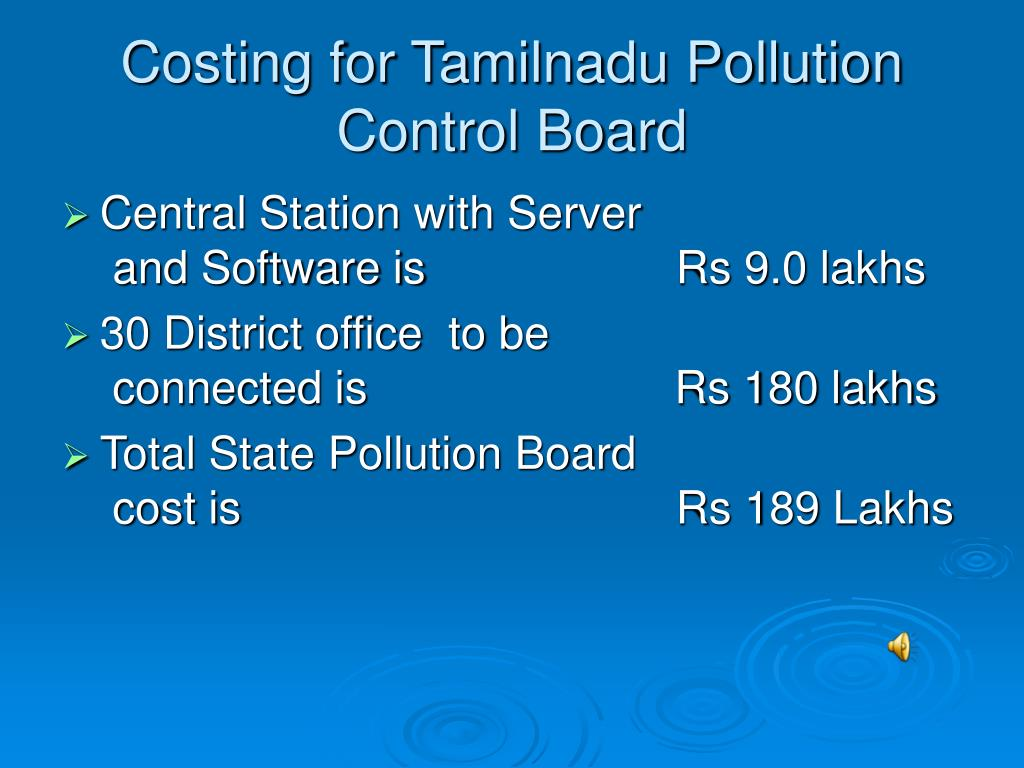 Costing for Tamilnadu Pollution Control Board