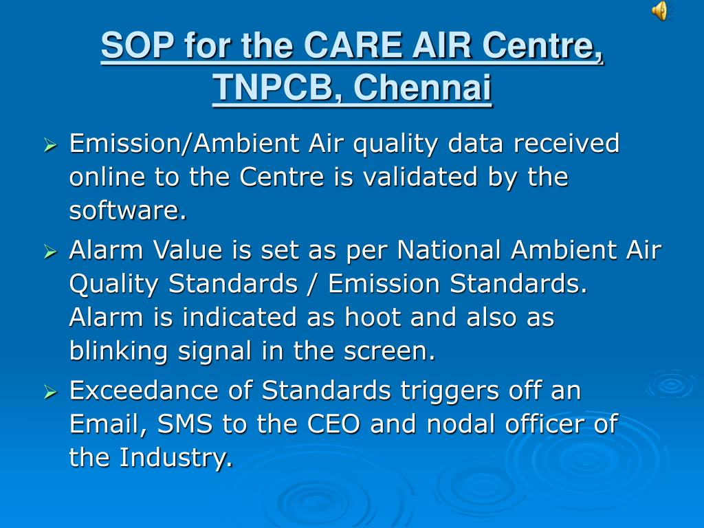 SOP for the CARE AIR Centre, TNPCB, Chennai