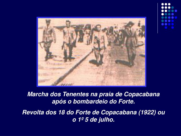 Marcha dos Tenentes na praia de Copacabana após o bombardeio do Forte.