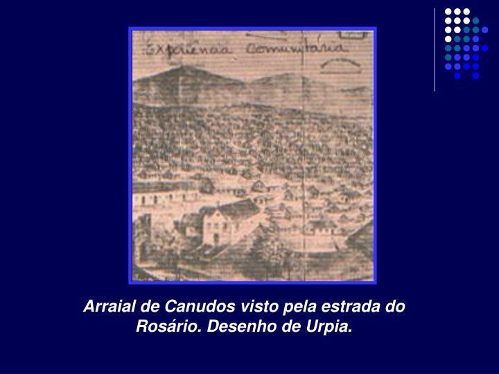 Arraial de Canudos visto pela estrada do Rosário. Desenho de Urpia.