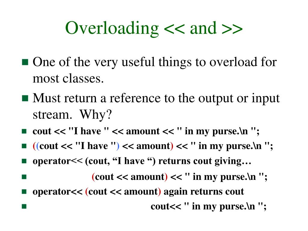 Overloading << and >>