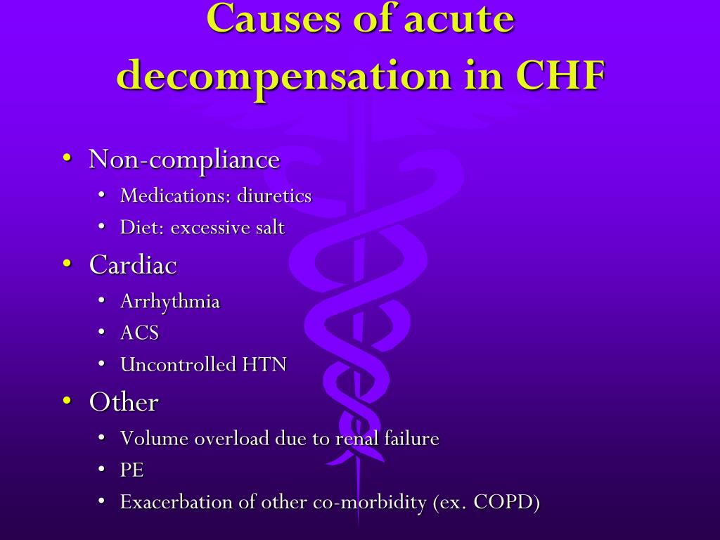 Causes of acute decompensation in CHF