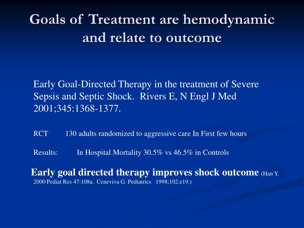 Goals of Treatment are hemodynamic and relate to outcome