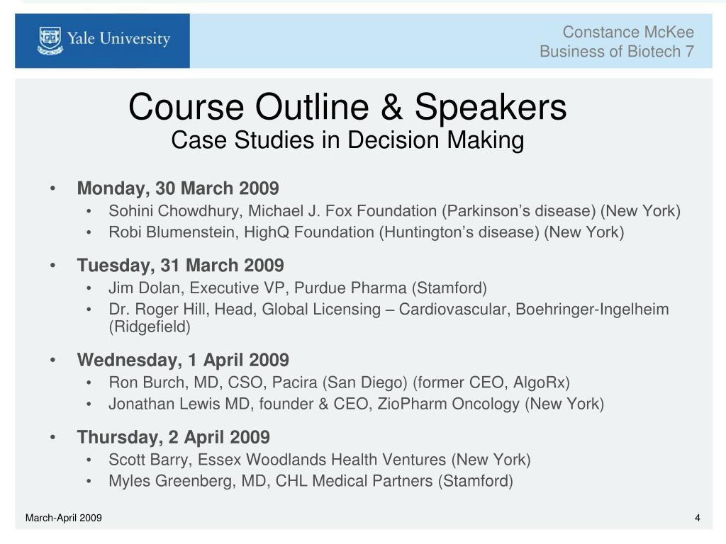 Course Outline & Speakers