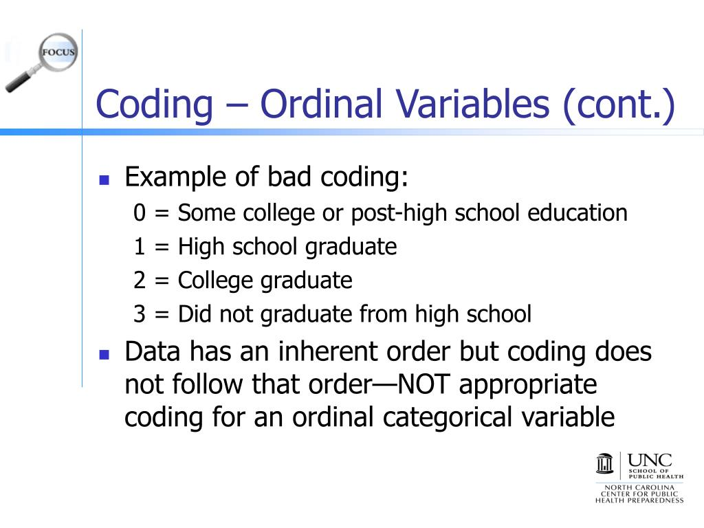 Coding – Ordinal Variables (cont.)