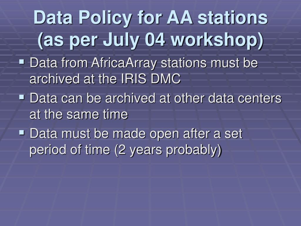 Data Policy for AA stations