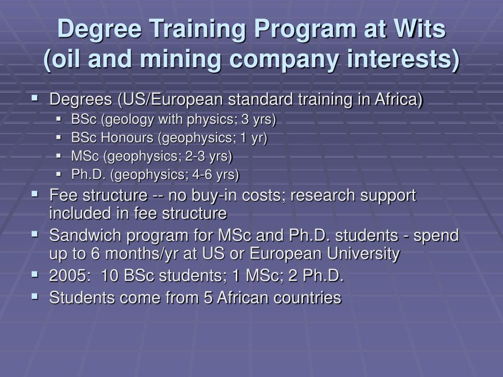 Degree Training Program at Wits