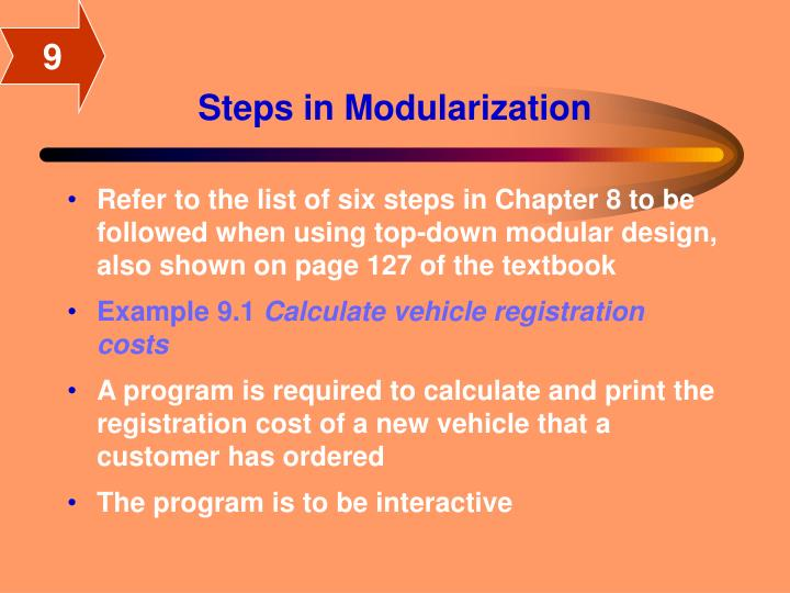 Steps in modularization