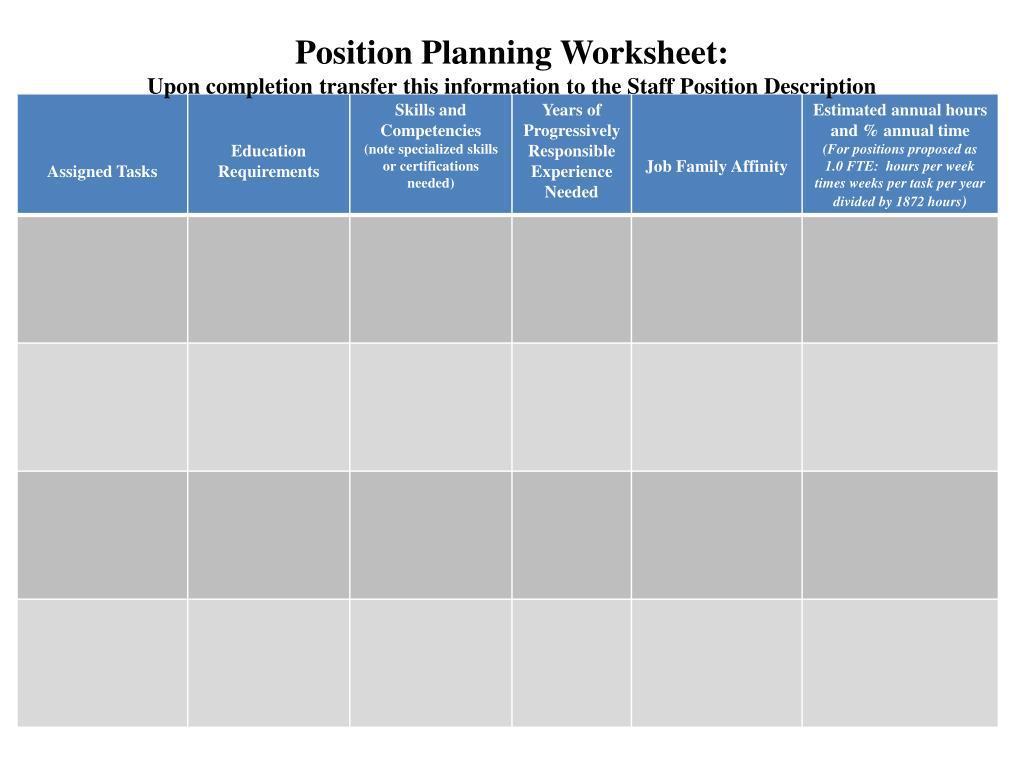 Position Planning Worksheet: