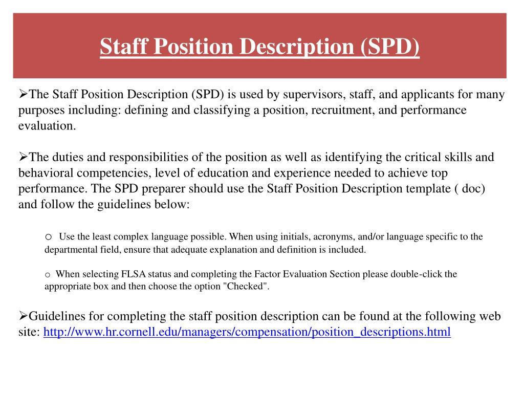 Staff Position Description (SPD)