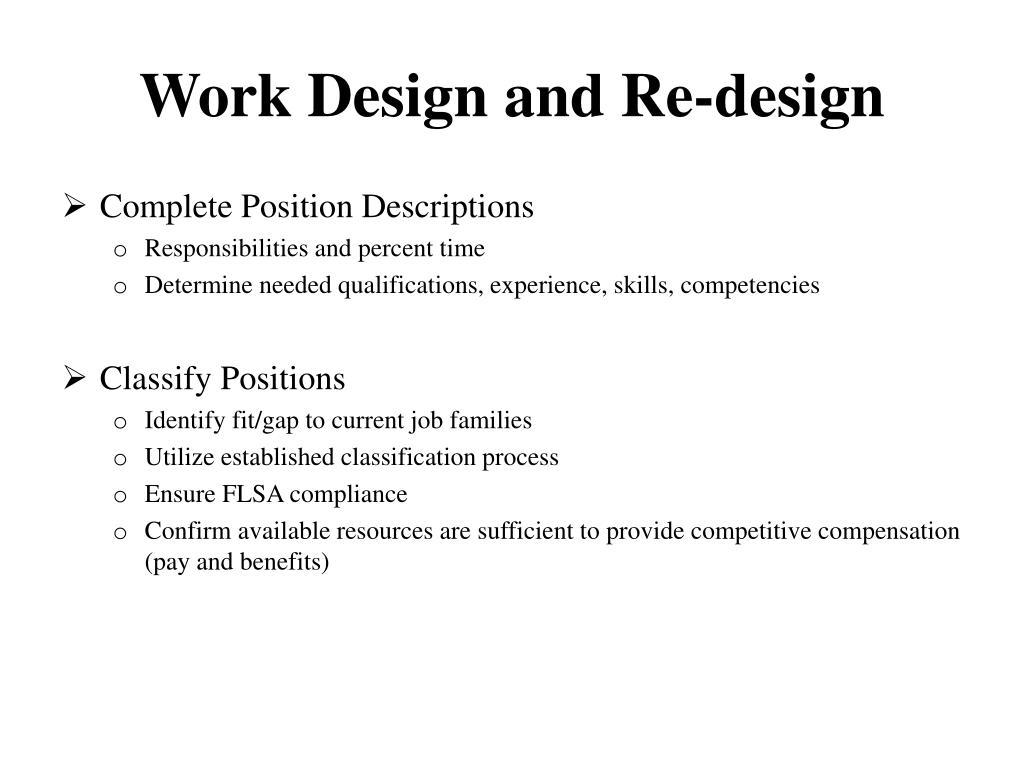 Work Design and Re-design