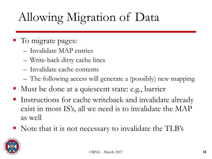 Allowing Migration of Data