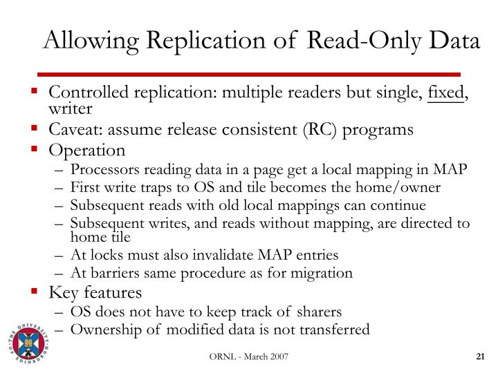 Allowing Replication of Read-Only Data