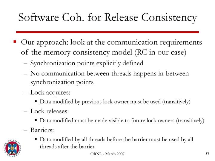 Software Coh. for Release Consistency