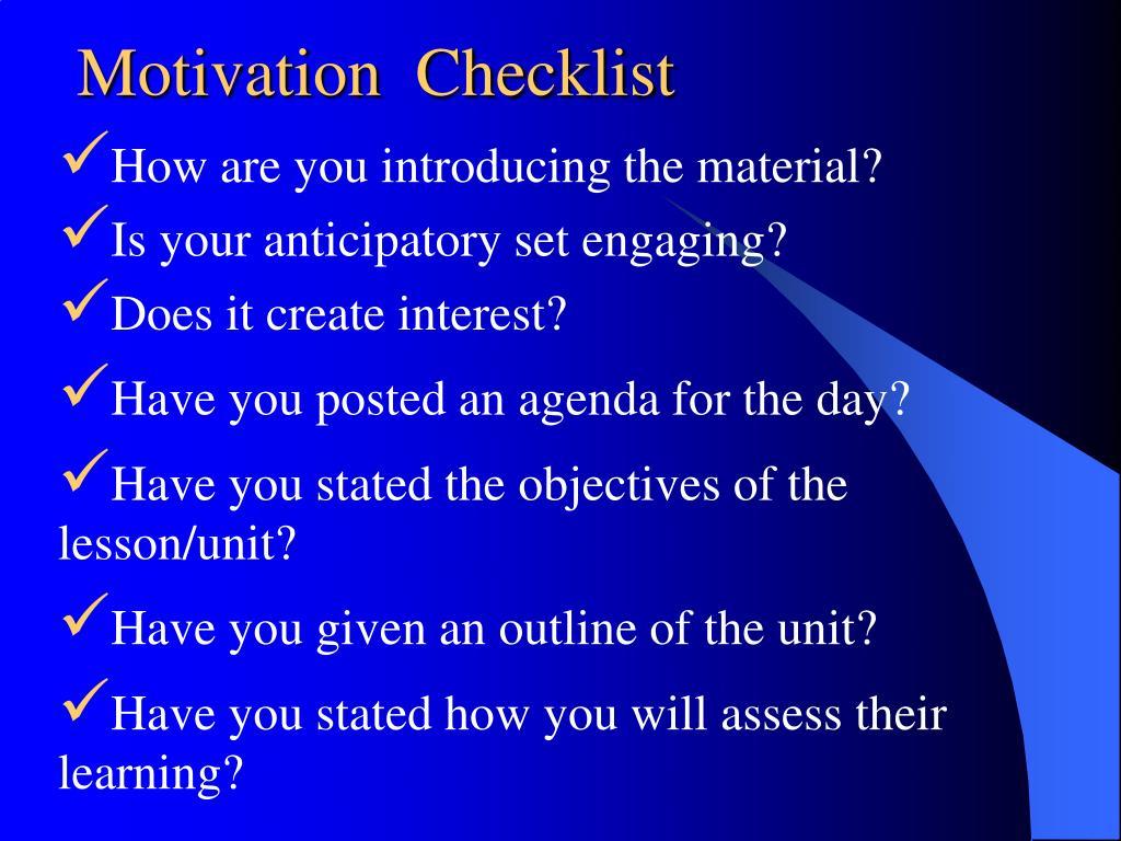 Motivation  Checklist