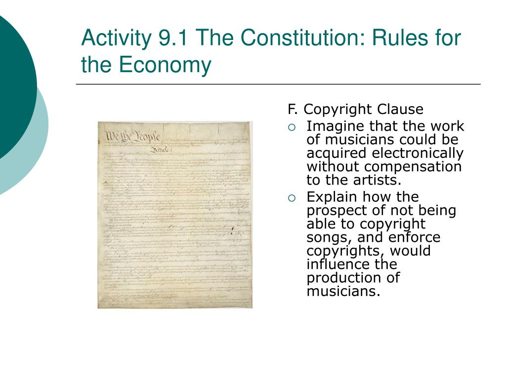 Activity 9.1 The Constitution: Rules for the Economy