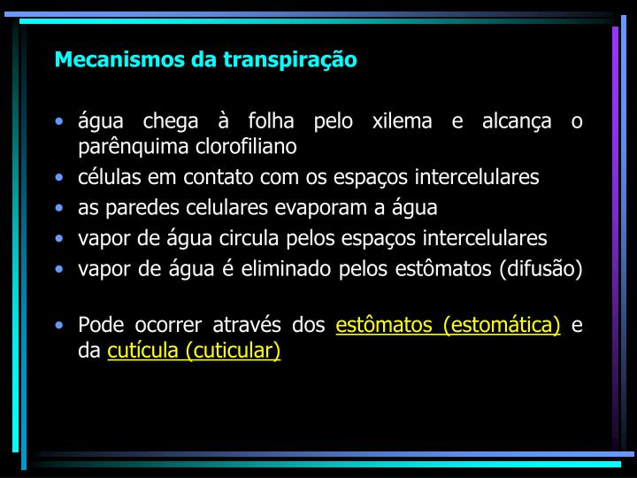 Mecanismos da transpiração