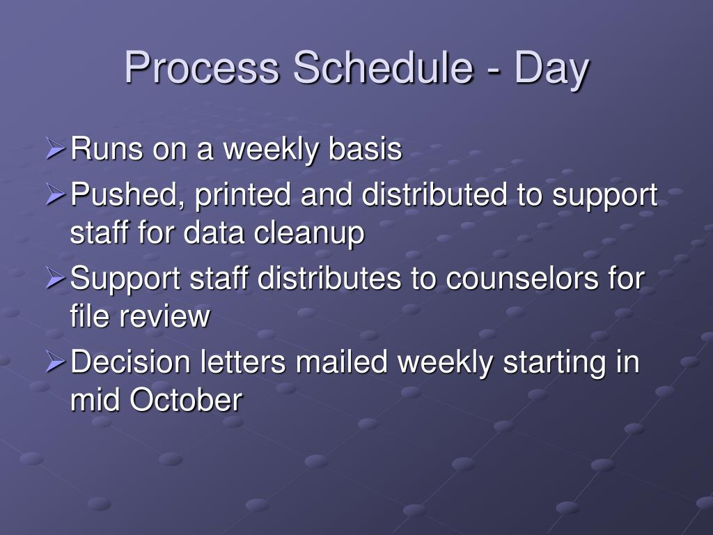 Process Schedule - Day