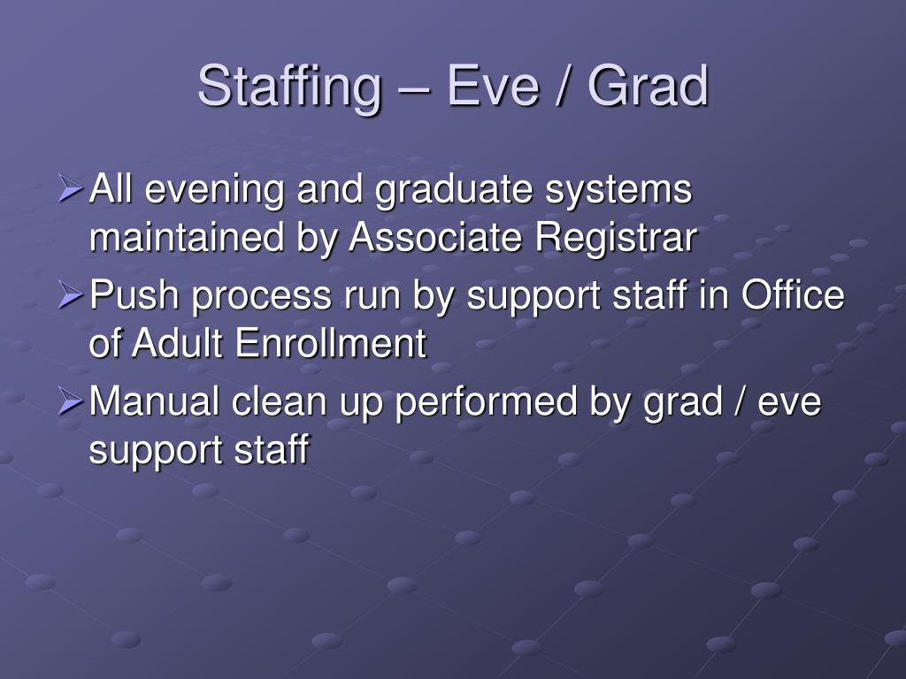 Staffing – Eve / Grad